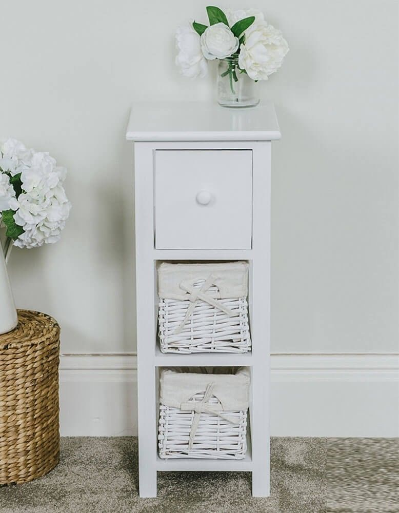 Details About Tall Slim Bedside Table White Wicker 2 Drawers