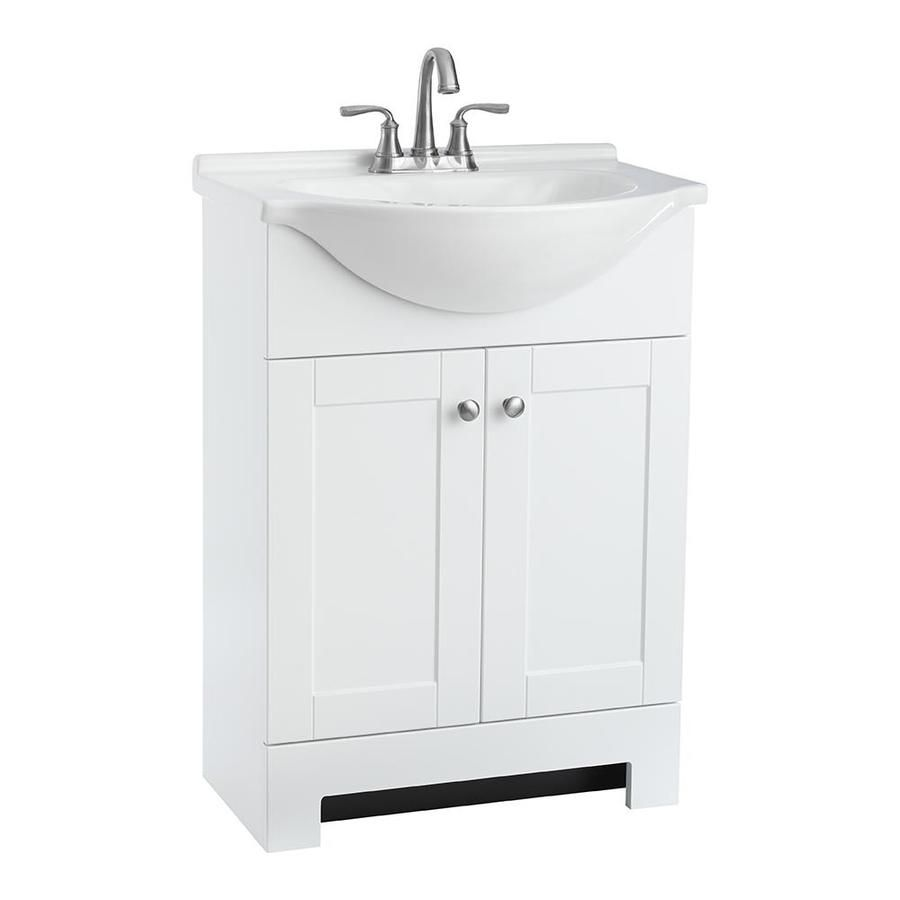 Style Selections Euro 25 In White Integral Single Sink Bathroom