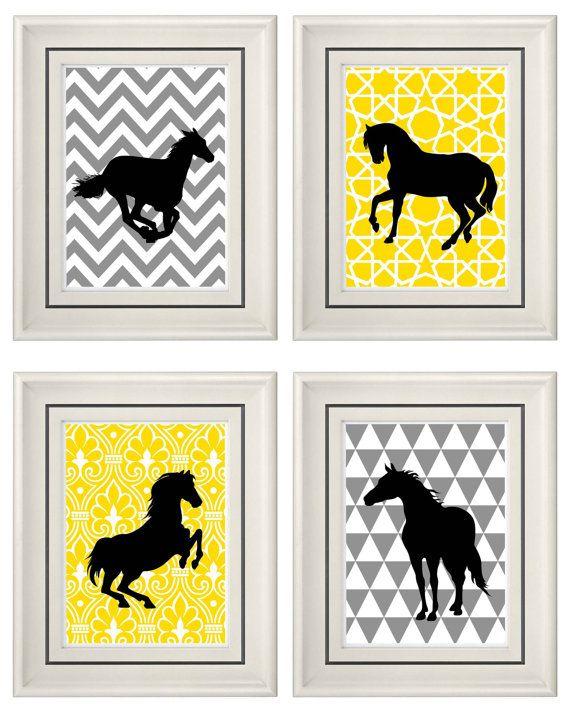 set of four modern vintage yellow gray horse wall art print set