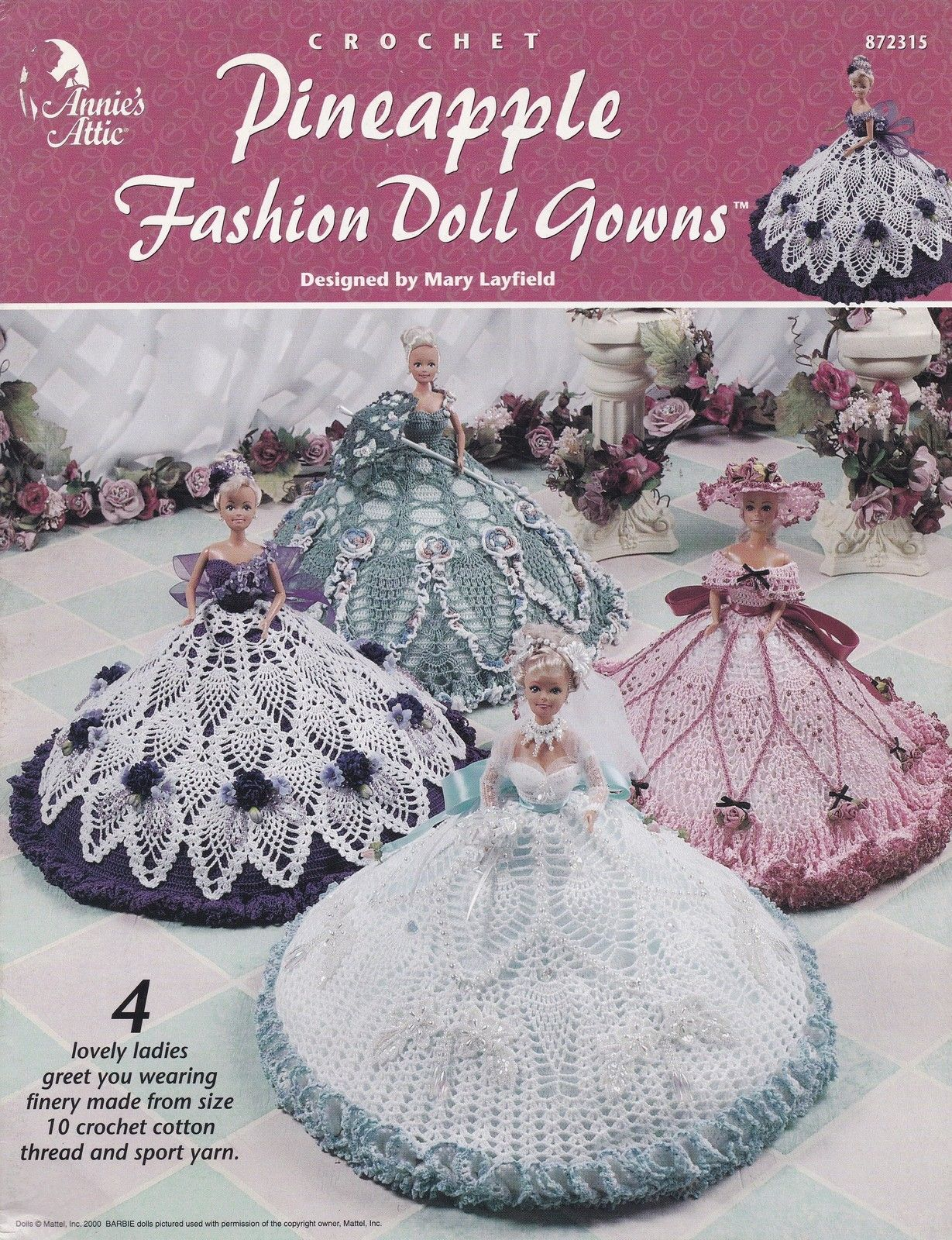 Pineapple Fashion Doll Gowns, Annie's Crochet Clothes Pattern Booklet 872315 - Patterns-Contemporary
