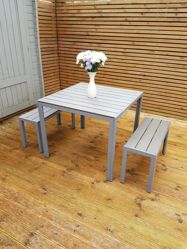 HIGH QUALITY Grey Garden furniture Aluminium and poly wood ...