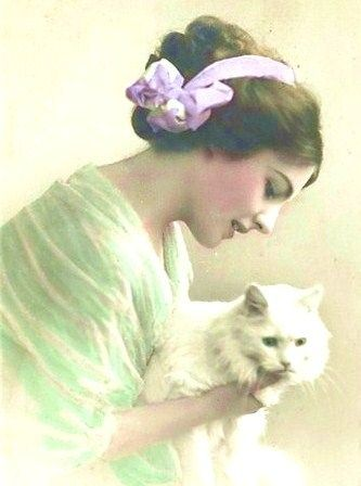 vintage beauty with cat.
