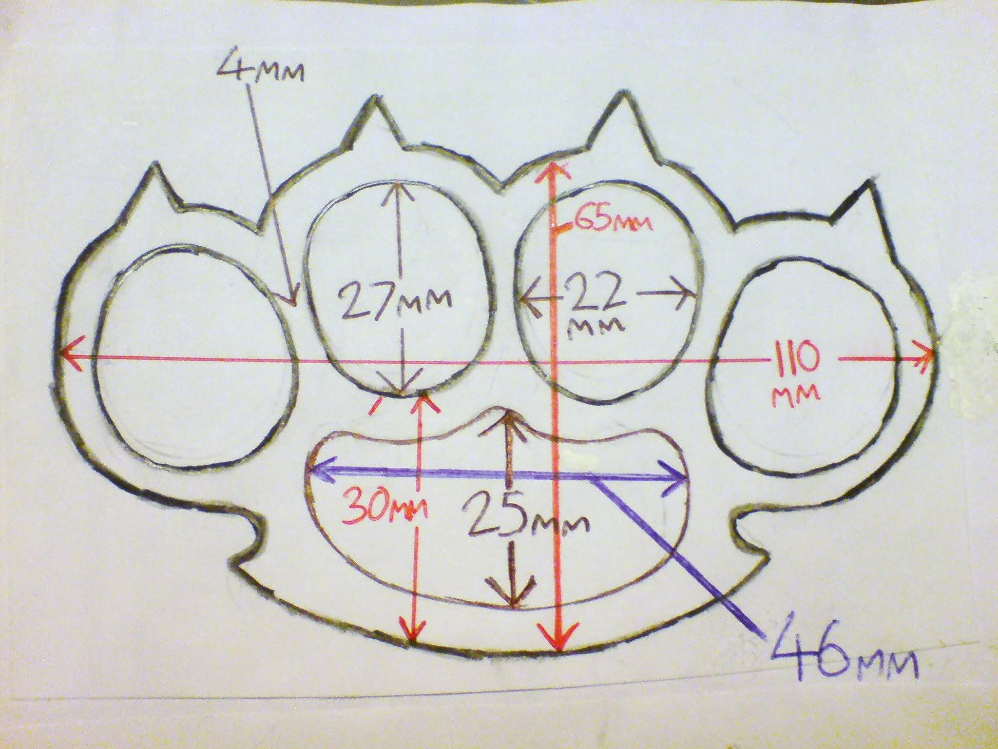 Brass Knuckles Diagram 1978 Honda Cb400 Wiring Pics For Knuckle Duster Template Knuckledusters Pinterest