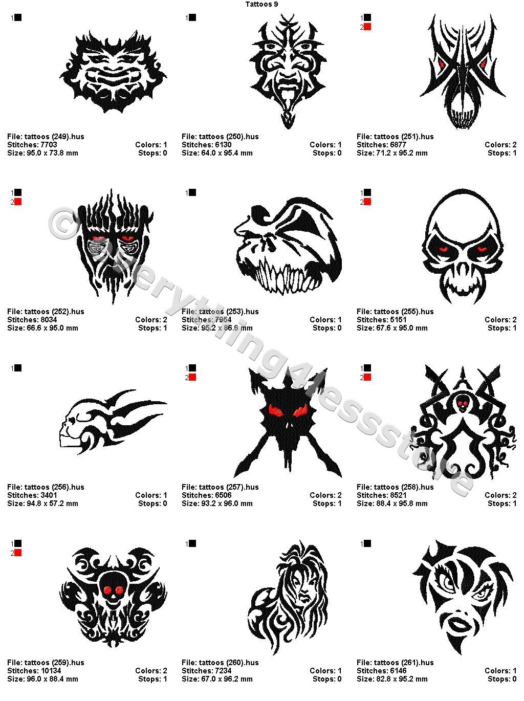 Wiccan Protection Tattoos 48 Tattoos 4x4 Volume 9 Mega Embroidery