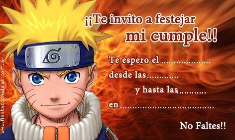 Tarjeta De Cumpleanos De Naruto Cumple Ulises Pinterest Naruto