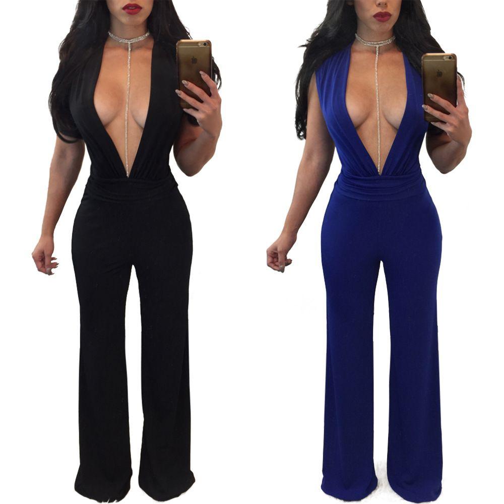 9dcc2e489fec Hot selling Women Ladies Clubwear V Neck Playsuit Bodycon Party Blue Black Jumpsuit  Romper women jumpsuit