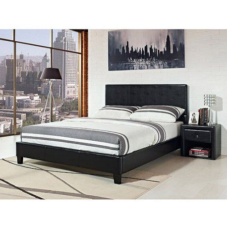 Stratus California King Upholstered Bed Black Faux Leather