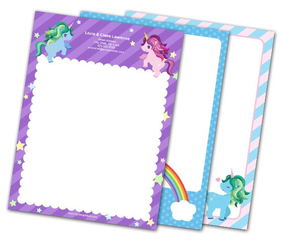 Download this Magical Unicorn Letterheads and other free printables