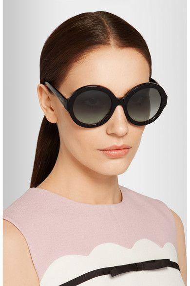 ee434a720fa9 Prada | Round-frame black acetate sunglasses Prada Sunglasses, Cat Eye  Sunglasses, Round