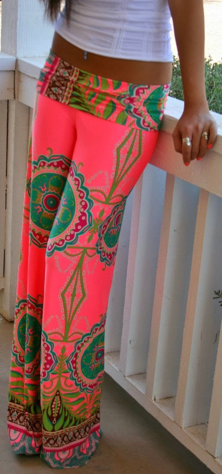 Photo of J UP FOLDOVER CORAL HIPPIE 70s USA TRIBAL WIDE TALL SUVA PALAZZO PANTS S M L  | eBay