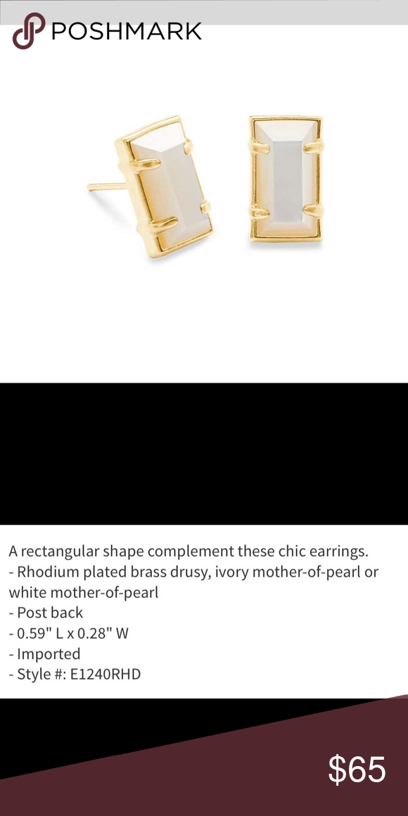 Sold Out Nwt Ks Paola Stud Earrings These Gold Plated With White Mother Of Pearl Inset Kendra Scott P Stud Earrings Chic Earrings Kendra Scott Jewelry