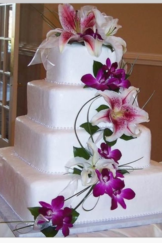 Extend The Stargazer Lilies To A Simple Wedding Cake My Fairy - Wedding Cake With Lilies