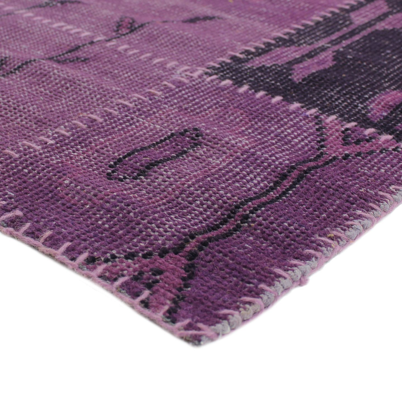 Tapis patchwork violet 160x230cm Prune - Antic laine art ...