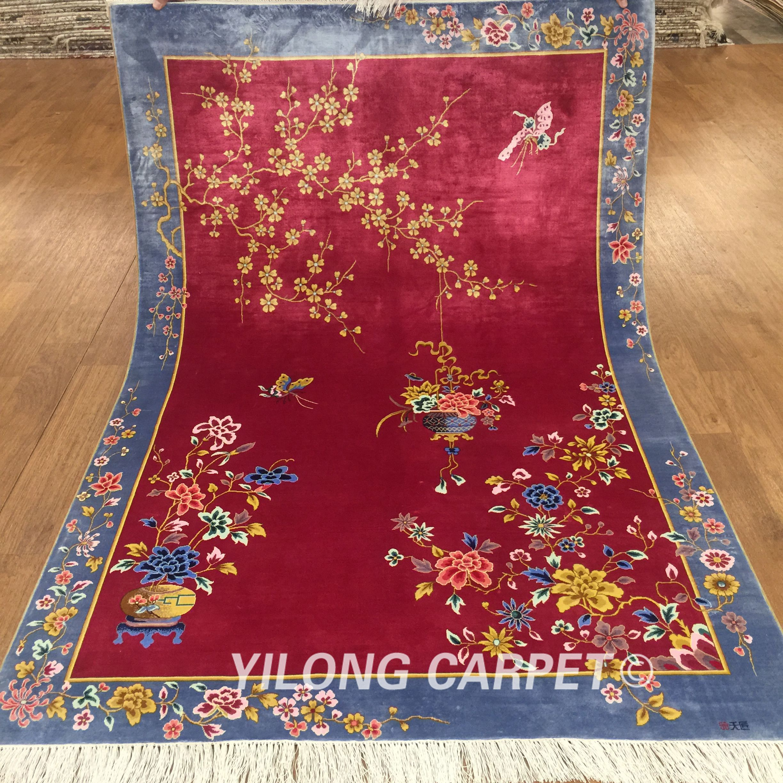 Red chinese art deco silk carpet handmade materials silk style