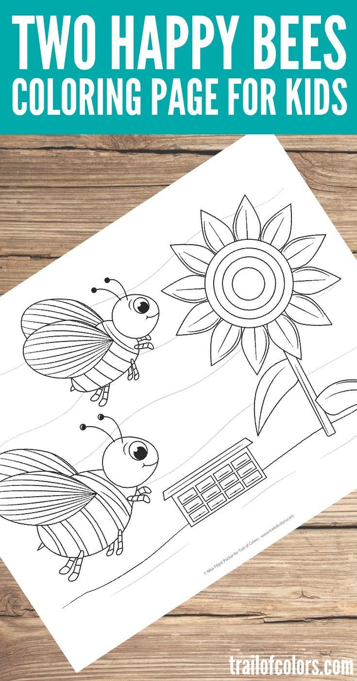 Free Printable Bees Coloring Page | Páginas para colorear gratis ...
