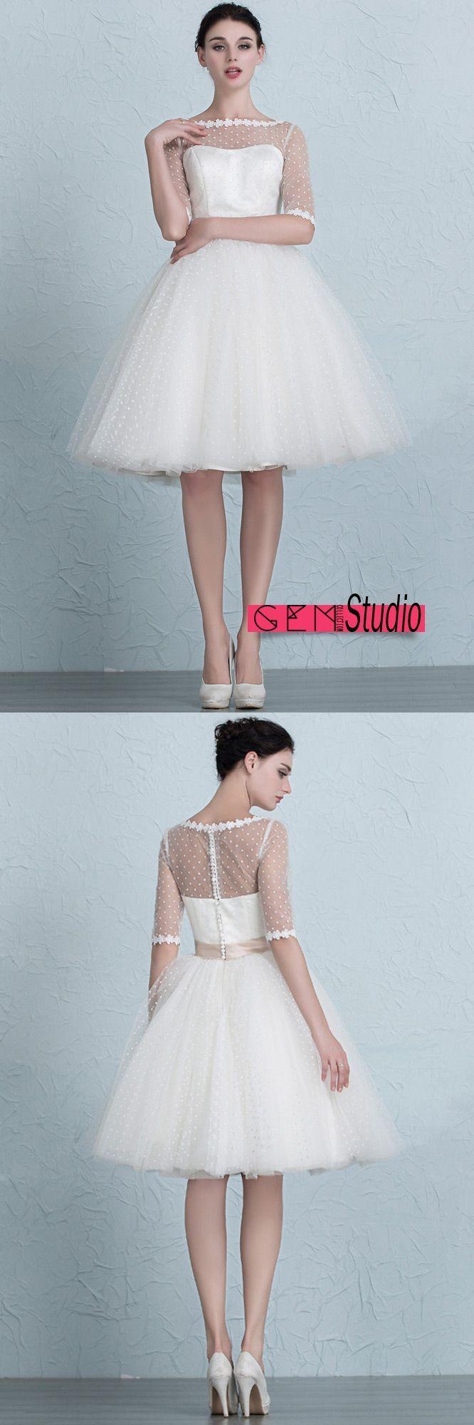 Vintage Short Wedding Dresses Polka Dot Knee Length Tulle Style with ...