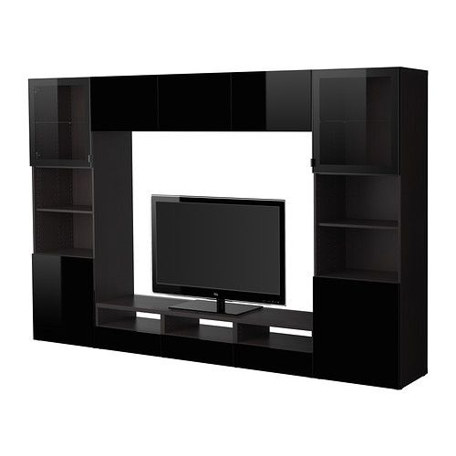 BESTÅ TV storage combination/glass doors - black-brown/Tofta high gloss/black clear glass - IKEA
