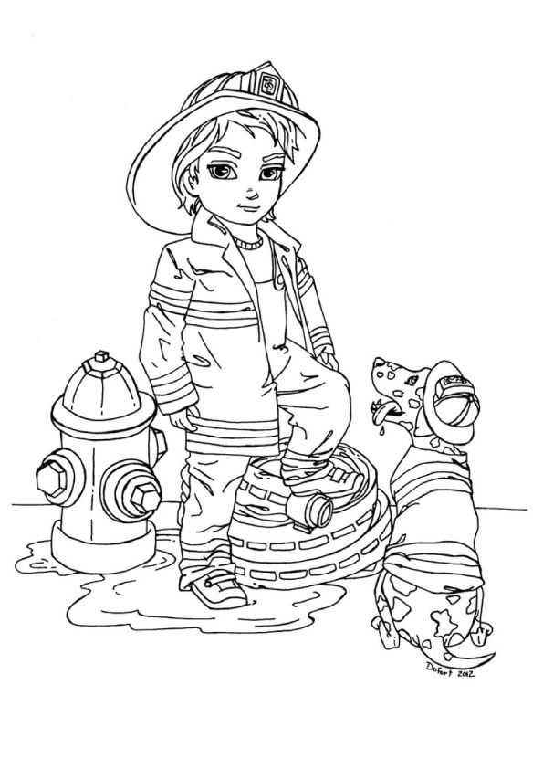 Girl-Firefighter-Coloring-Pages-free-for-kids (With images ...