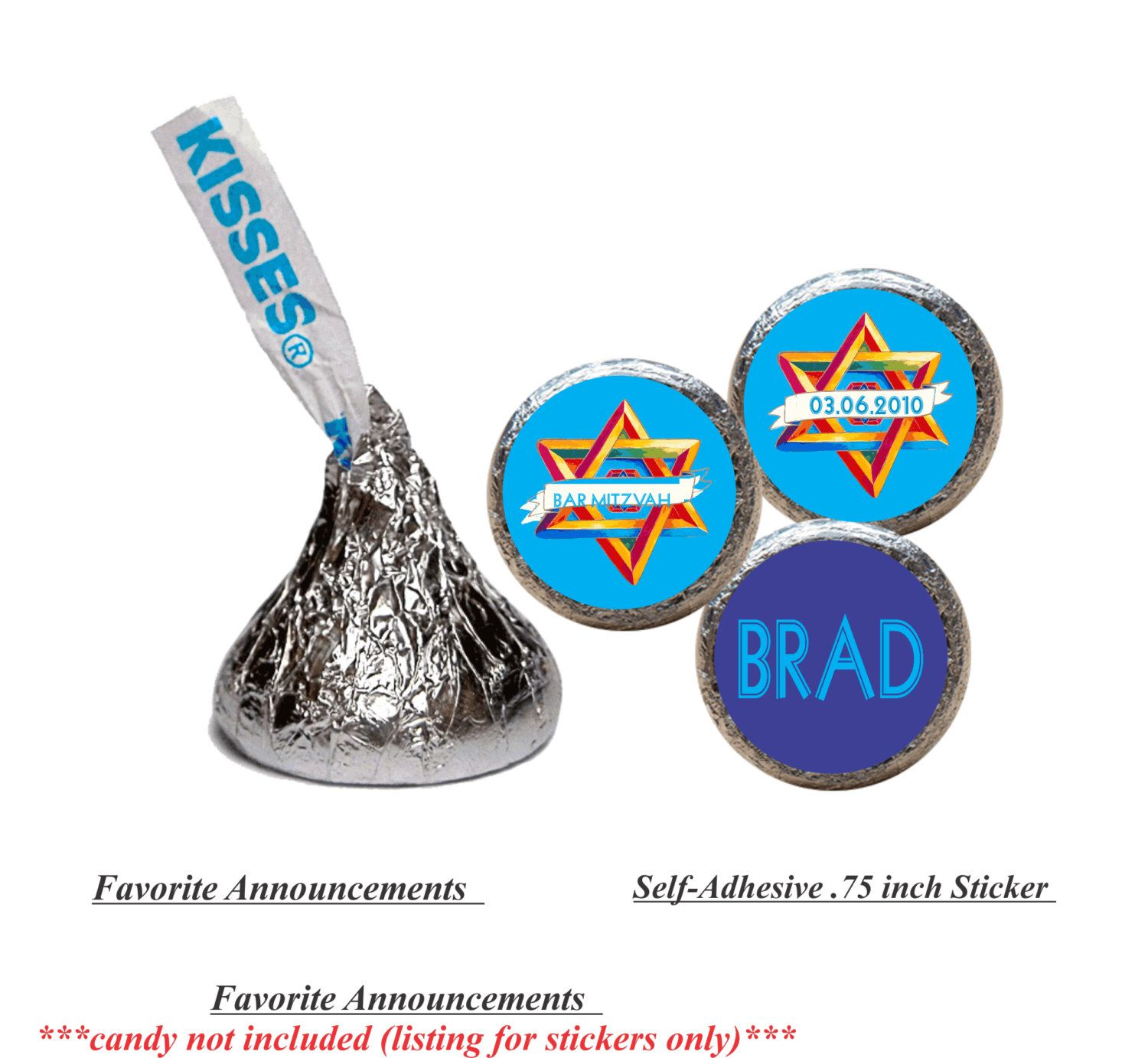 Bar Mitzvah Party Favors, Star of David, Kiss Stickers, Round ...