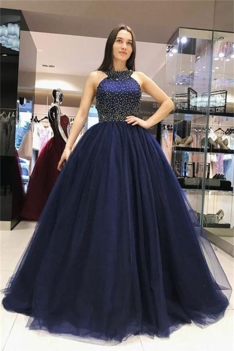 66a562c6a7 Ball Gown Long Navy Blue Beading Tulle Princess Prom Dresses Quinceanera  Dresses -  KikiProm  promdresseslong  navybluepromdresses