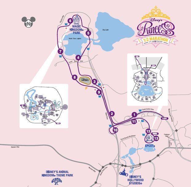 Disney World Half Marathon Course Map on