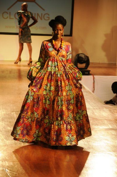 Ghanian fashion. #1  This kinda combines the ol England full dress style with a African inspired print :)
