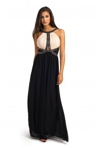 8dab5b95844e Little Mistress Cream And Black Embellished Cutout Detail Maxi Dress  Website   http