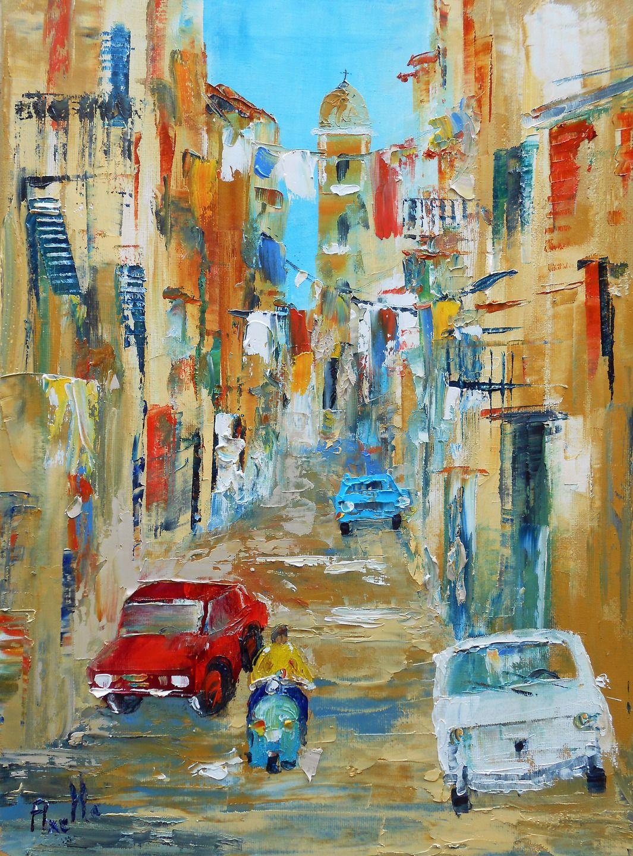 tableau une rue de napoli en italie du sud peintures axelle bosler peintures par peintures. Black Bedroom Furniture Sets. Home Design Ideas