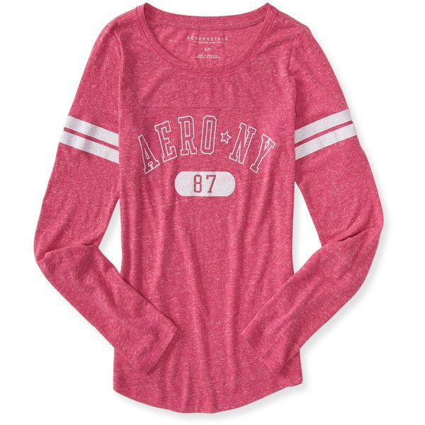 786e1cffb Long Sleeve Aero NY Heathered Graphic T featuring polyvore, fashion,  clothing, tops, t-shirts, gossip pink, graphic tees, striped long sleeve tee,  pink tee, ...