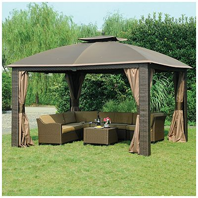 Wilson Fisher 10 X 12 Resin Wicker Riviera Gazebo Backyard Gazebo Gazebo Canopy Outdoor