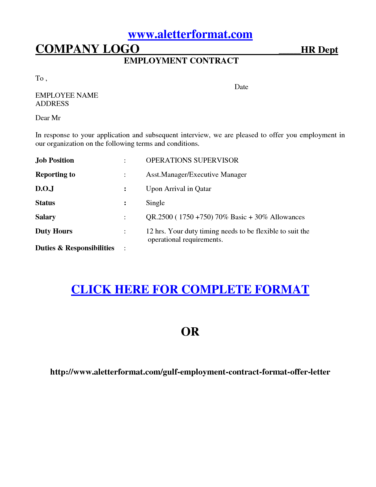 Is An Offer Letter A Contract.Job Offer Agreement Employment Contract Letter Sample