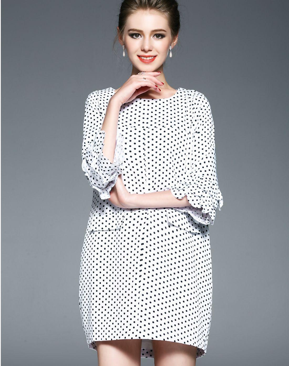 #AdoreWe #VIPme Designer Shift Dresses - Designer OULIN White Polka Dot Print Bell Sleeve Cocoon Mini Dress - AdoreWe.com