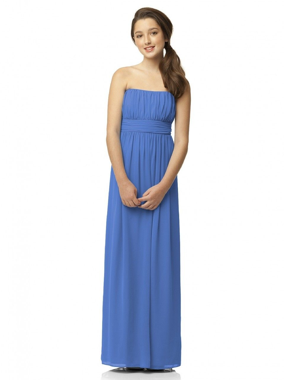 Dessy jr bridesmaid dresses dessy jr junior bridesmaid dresses dessy collection junior bridesmaid style jr 519 is a full length strapless lux chiffon junior dress w shirred bodice and matching sewn in sash at empire ombrellifo Gallery