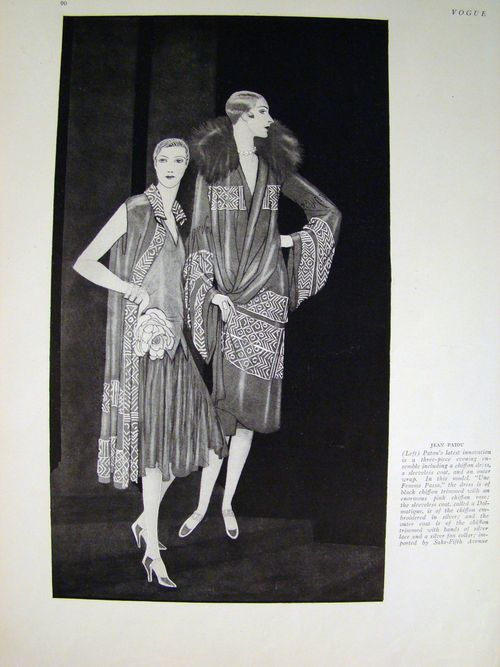 "Kittyinva: 1926 Jean Patou evening ensemble, from ""Vogue""."