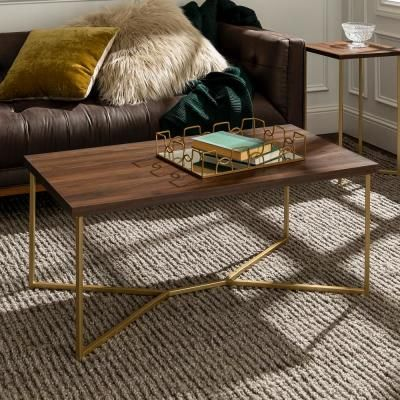 Walker Edison 42 In Dark Walnut Gold Large Rectangle Mdf Coffee Table Hdf42luxdwg The Home Depot Coffee Table Round Wood Coffee Table Coffee Table Wood