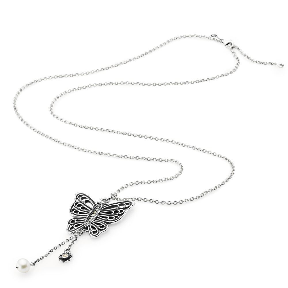 Silver butterfly pearl necklace pendant pandora pandora aus the pandora necklace and pendant collection are delicately hand finished to perfection explore the latest styles and find the perfect necklace for you mozeypictures Image collections