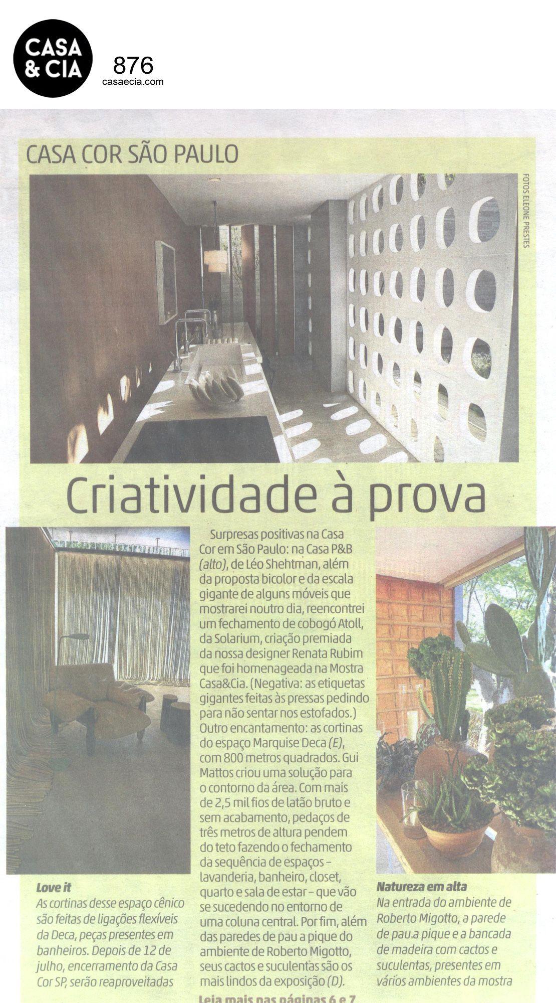 Matéria sobre a Casa Cor SP 2015.