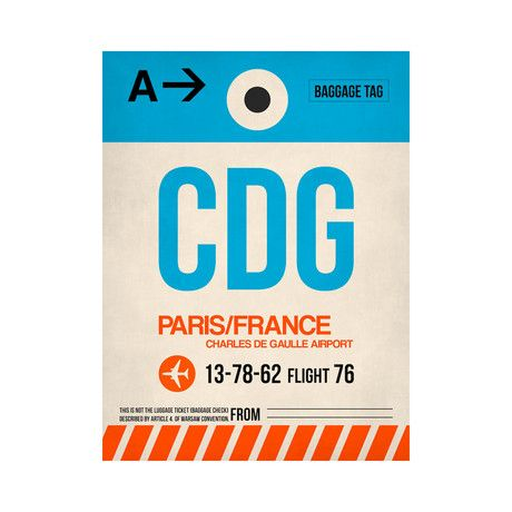 Inspired by luggage tags and air travel, this Naxart Luggage Tag Print is all about the Charles de Gaulle Airport in Paris. Its strong '70s ...