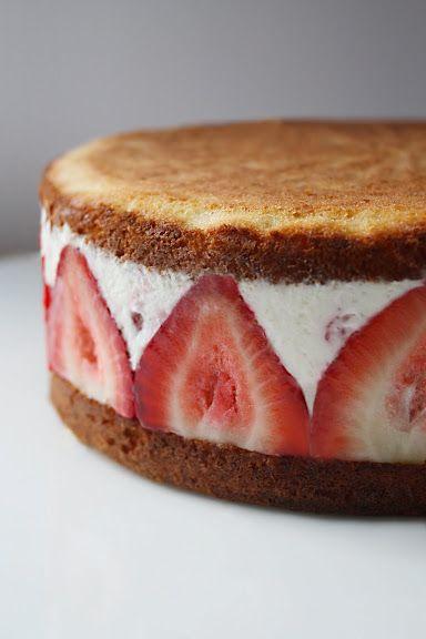 Strawberry Mascarpone Cream Cake (or Ice Cream Cake)