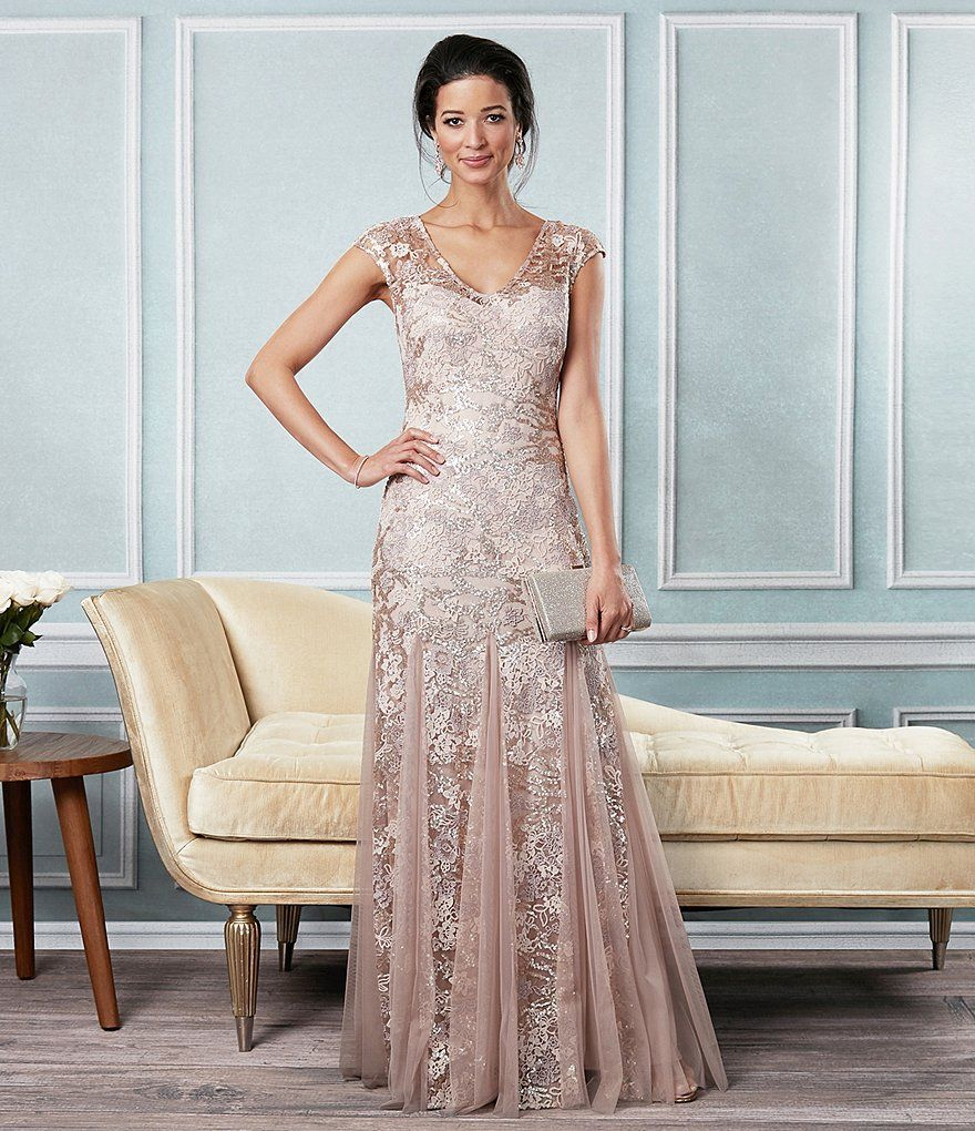 Alex Evenings Illusion Cap Sleeve Embroidered Lace Godet