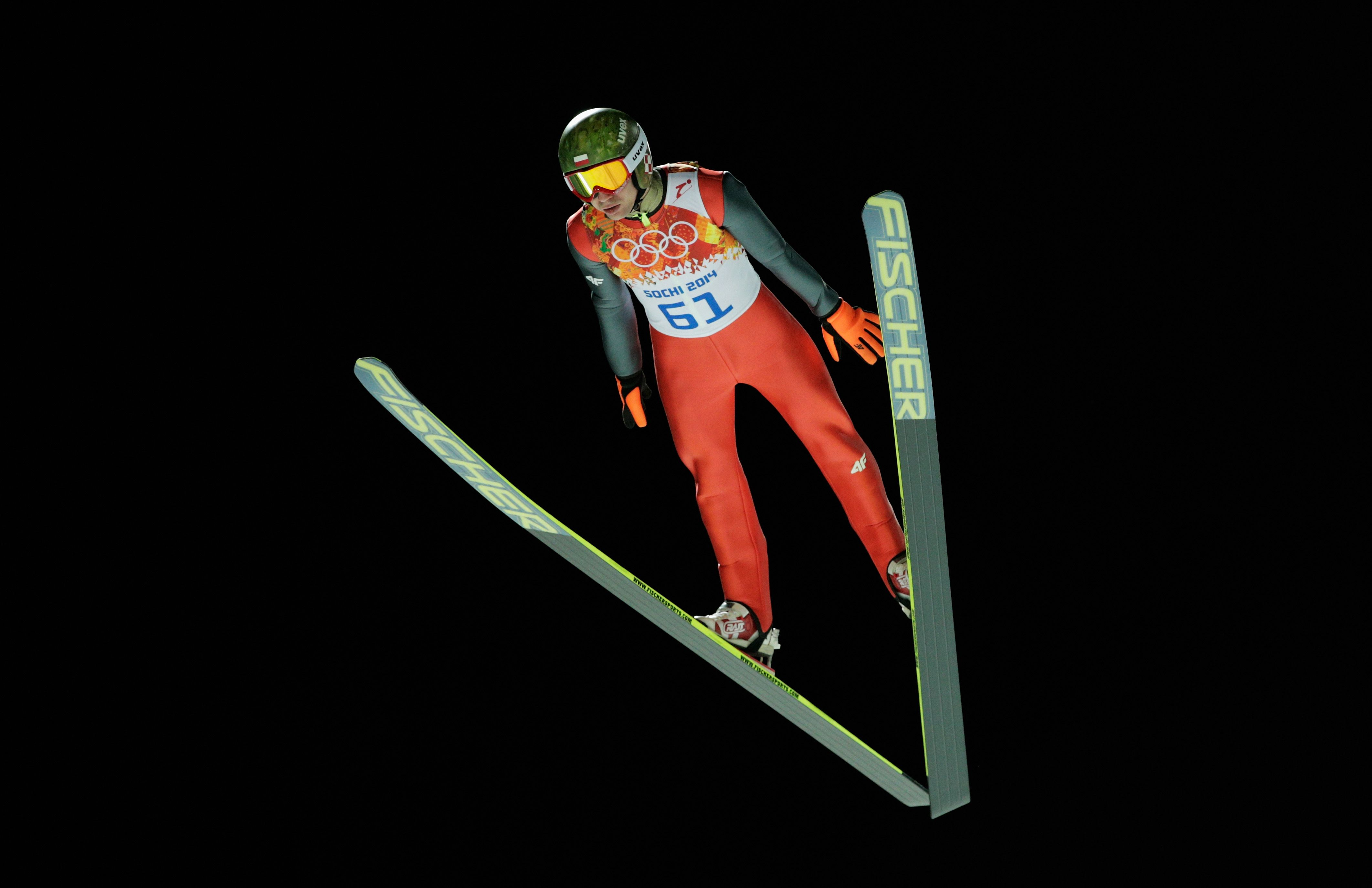 Kamil Stoch Of Poland Jumps During The Men S Large Hill Individual Qualification C Getty Images Ski Jumping Skiing Jump