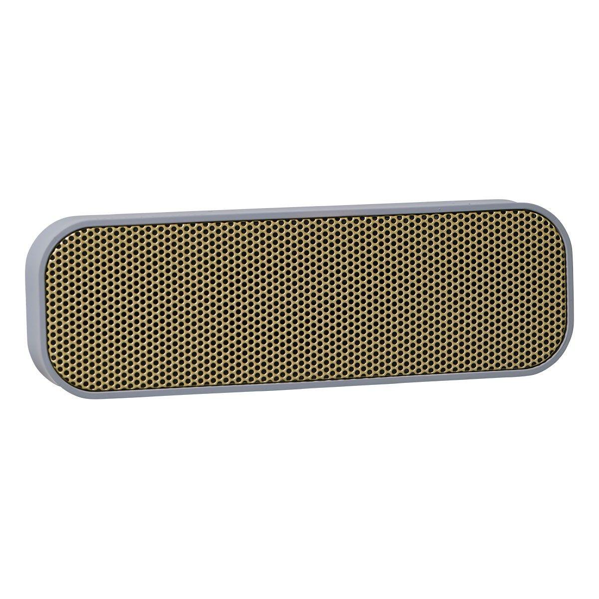 aGROOVE, KreaFunk, Grå med mässingsfront, BT speaker, bluetooth 3.0, 20x2.8 cm, h.: 6.4 cm, inkl. trälåda