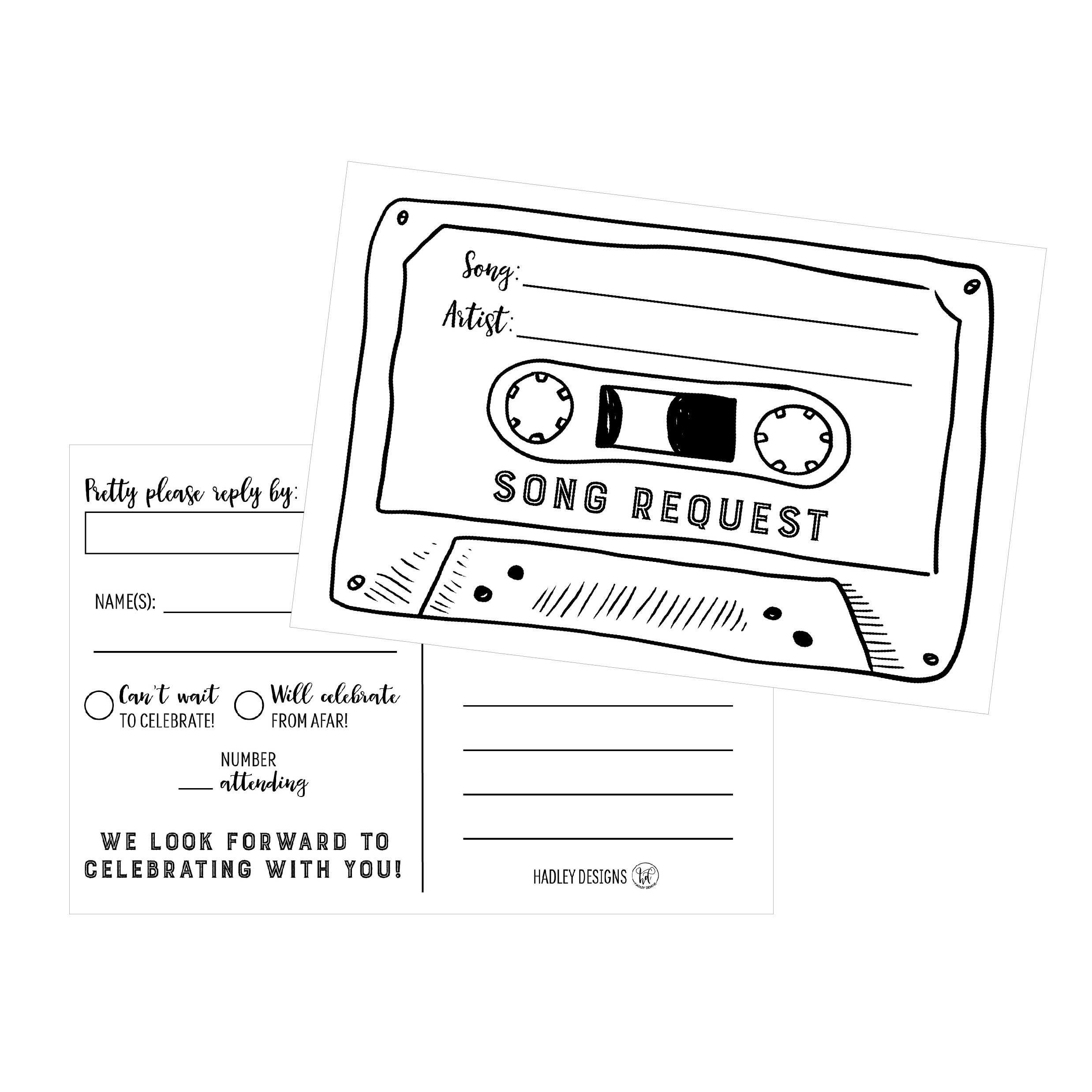 50 Song Request Cassette Tape Generic Rsvp Cards Rsvp Postcards No Envelopes Needed Respons Evening Wedding Invitations Song Request Wedding Invitations Rsvp