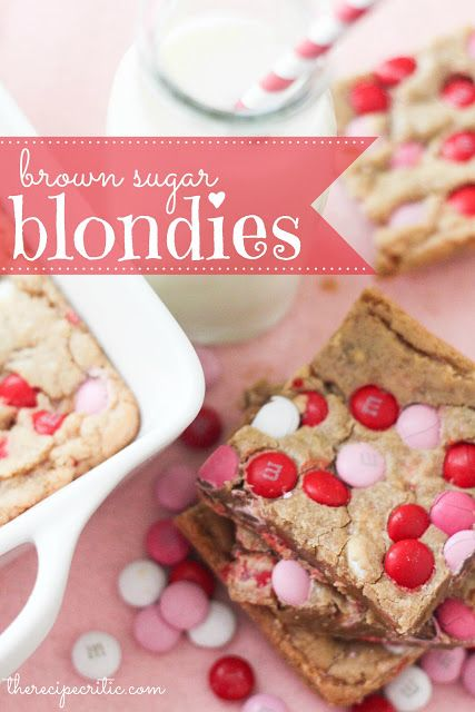 Brown Sugar Blondies at http://therecipecritic.com  These are easy and delicious and so fun for Valentine's Day!!