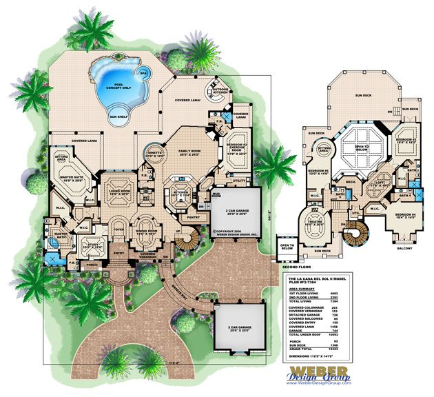 Mediterranean Style Home Plan La Casa Del Sol II Floor Plan By Weber Design  Group