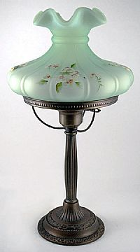 Fenton Art Glass - 20-1/2'' Melon Student Lamp in Willow Green Satin