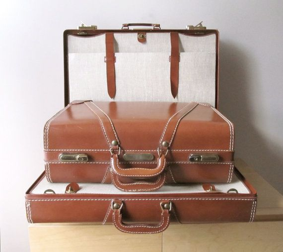 vintage gentleman's leather luggage set keyed by ionesAttic ...