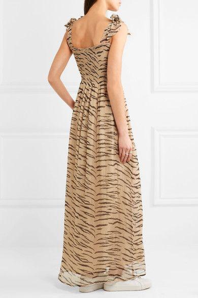 f3718dfb1dc00 GANNI - Whitman Animal-print Plissé Chiffon Maxi Dress - Sand in ...
