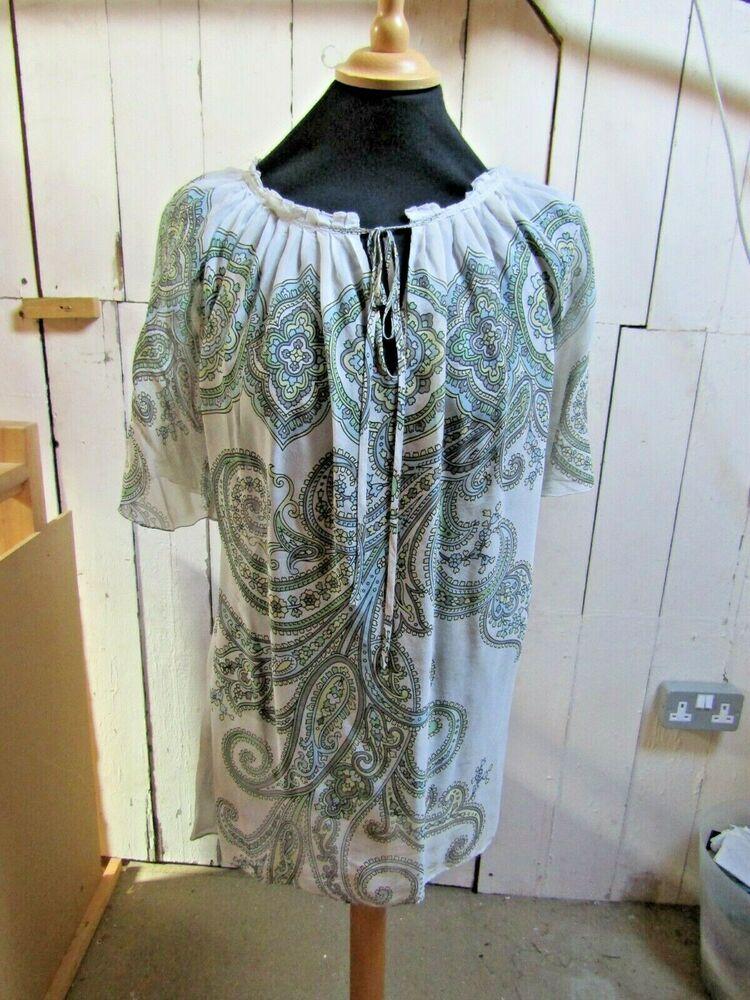 3af9effadfdf JAEGER -M- white gypsy print shirt sleeve smock top  fashion  clothing