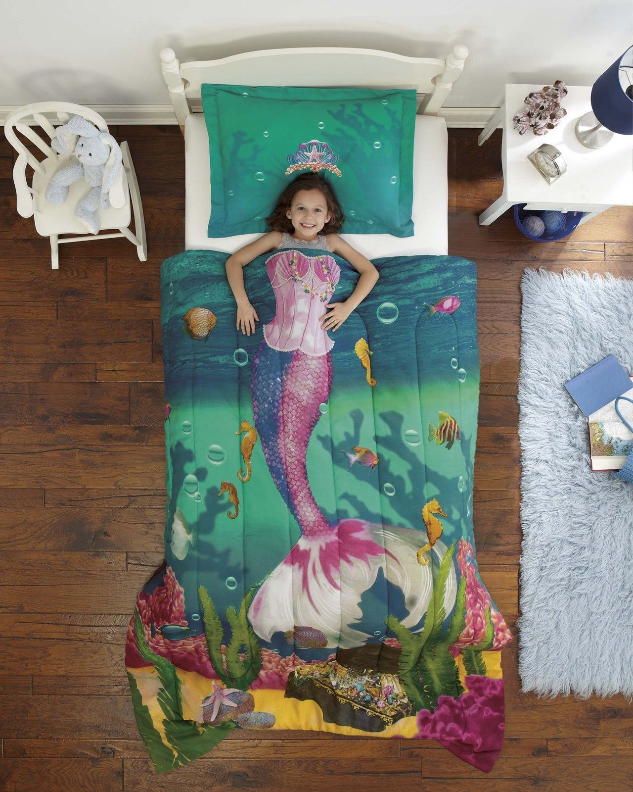 Bedrooms for girls blue and green - Green Purple Royal Mermaid Sea Princess Comforter Bedding Set Kidsroomstore